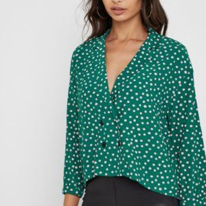Topshop Green & Pink Polka Dot 4 Button Top